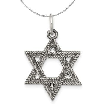 Sterling Silver Antiqued Textured Star of David Charm or Necklace