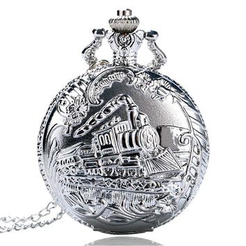 2017 New Arrival Vintage Bronze Silver Gold Train Head Carved Hollow Steampunk Quartz Pocket Watch Necklace Chain Clock Gift