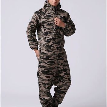 2016 New Men's work wear casual Camouflage set resistant protective clothing long-sleeve jumpsuits/overalls