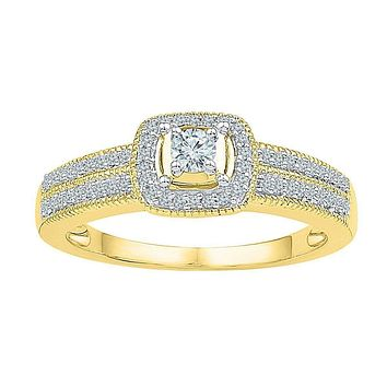 10kt Yellow Gold Women's Round Diamond Solitaire Double Row Milgrain Bridal Wedding Engagement Ring 1/4 Cttw - FREE Shipping (US/CAN)