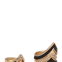 FOREVER 21 Pointed Faux Leather Ring Set Black/Gold