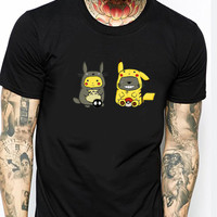 Funny Totoro Pikachu ST Mens T-shirt Black and White