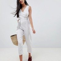 ASOS DESIGN cami jumpsuit with tie waist in linen stripe at asos.com