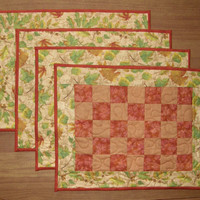 Fall Quilted Placemats, Set of 4 Place Mats, Quiltsy Handmade, Orange Place Mats, Fall Leaves Place Mats, Wedding Gift, Holiday Placemats