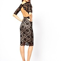 Elise Ryan Open Back Midi Dress in Lace at asos.com