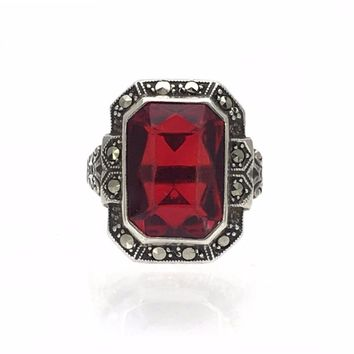 Sterling Garnet Glass Marcasite Art Deco Ring, Art Deco, 1920s to 1930s