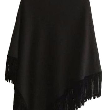 Women's Black Fringe/Tassel Cape Poncho Sweater Jacket