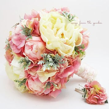 Bridal Bouquet Peonies Hydrangea Dusty Miller Pink, Grey and Ivory with Groom's Boutonniere - Customize for Your Colors