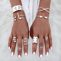 8pcs Vintage Bohemian Silver Ring Set