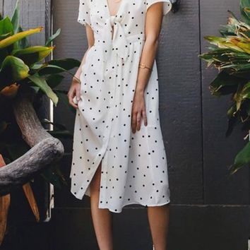 White Polka Dot Knot Deep V-neck High Waisted Homecoming Party Elegant Midi Dress