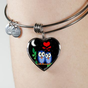 Cute owl couple heart pendant bangle bracelet