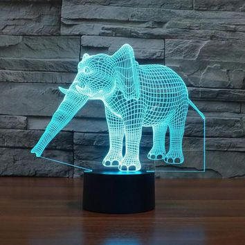 Creative Elephant Changing 3D LED Light 7 Color Decoration Night Light