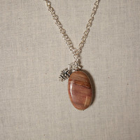 Handmade Brown Stone Pendant Necklace Pine Cone Charm Necklace