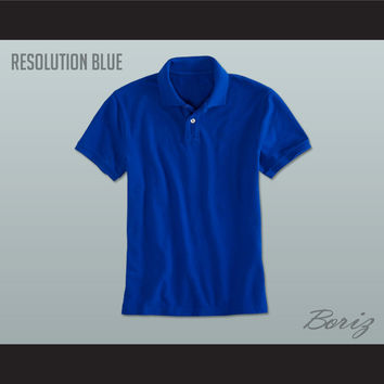 Men's Solid Color Resolution Blue Polo Shirt