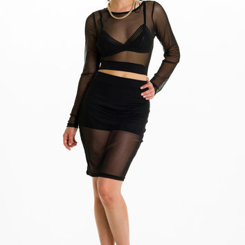 (alh) Sheer mesh black skirt set