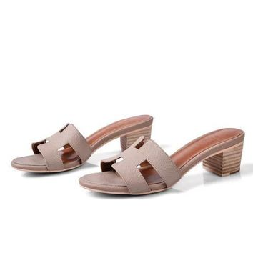 Hermes Women Fashion Casual Low Heeled Shoes Slipper Shoes-13