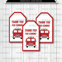 Printable Thank You Tag, Firefighter, Fireman, Fire Truck, Fire Dept,  Hero, Fire Rescue, Birthday, Decorations, Favor Tags, Loot Bag Tag