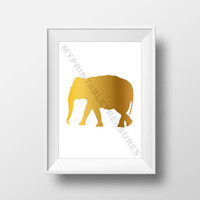 Elephant Art Print, Digital Download, Animal Silhouette in Gold