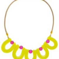 ALBERTO GALLETI VANDA Neon Yellow Necklace - ACCESSORIES | JEWELRY | Necklaces | Scoops | PRET-A-BEAUTE.COM