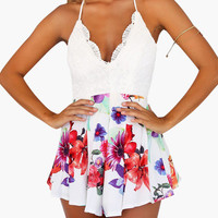 White Floral Print with Lace Accent V-Neck Backless Romper