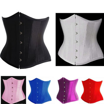 Black/Red/White/Pink/Purple/Blue Woman Sexy Satin Cupless Underbust Corset S-6XL Plus Size Waist Training Corsets Corselet Top Kopcet = 1958474500