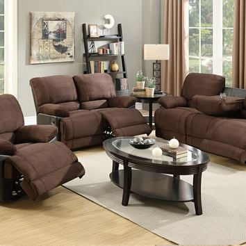 2 pc Samantha II collection two tone chocolate faux leather and microfiber upholstered sofa and love seat set with reclining ends