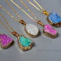 Genuine Agate Druzy Natural Geode Gold plated Mineral Crystal Gemstone Pendant Necklace