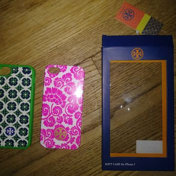 AUTHENTIC Tory Burch iPhone 5 soft shell phone case lot of 2