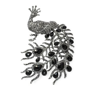 Large Vintage Black Rhinestone Peacock Brooch