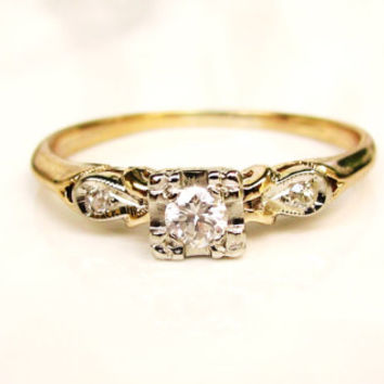 Vintage Engagement Ring Romantic Heart Motif Petite Diamond Promise Ring 14K Two Tone Gold Diamond Wedding Ring Size 7!