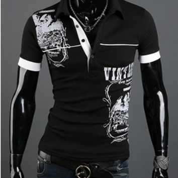 New men's fashion Short sleeved British stamp POLO Shirt [10312513795]