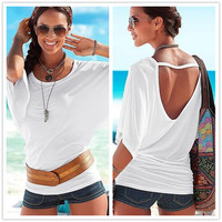 Summer Casual Solid O Neck Batwing Sleeve Women T Shirts Fashion Sexy Backless Tops Tee For Female