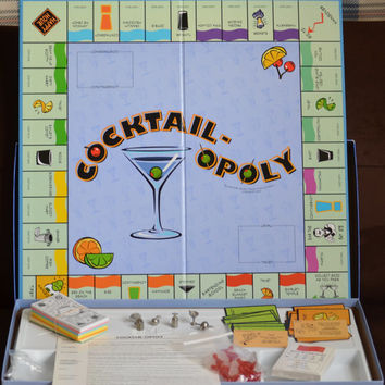Vintage Cocktail-Opoly Game by Late For The Sky Complete Set 80's