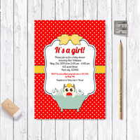 Owl Baby Shower Invitation Printable, Digital File -  Red & Orange Polka Dot