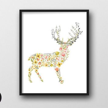 "Flowery Deer - Printable Wall Art, Instant Download, 8x10"", Flower Boho Print, Nursery Decor, Woodland Decal,  Baby Shower Gift, Animal Art"
