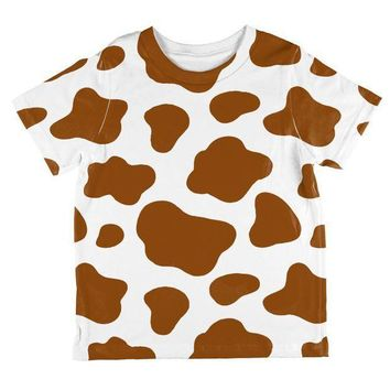 CREYCY8 Halloween Costume Brown Spot Cow All Over Toddler T Shirt