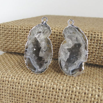 ON SALE Geode Half Pendant PAIR in Sterling Silver – Geode Occo Druzy Half Crystal Earring Pair Electoroplated Sterling Silver