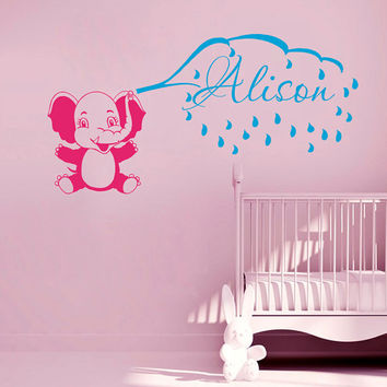 Wall Decals Custom Personalized Name Monogram Vinyl Sticker  Baby Elephant  Decal Baby Girl Boy Bedroom Nursery  Home Decor ML70
