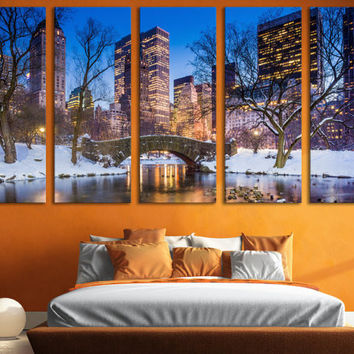 New York Central Park Canvas Print Wall Art Multi Panel Wall Art New York Skyline Photography Canvas Print for Home & Office Wall Art Decor