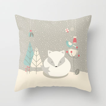 Christmas baby fox 05 Throw Pillow by BlueLela