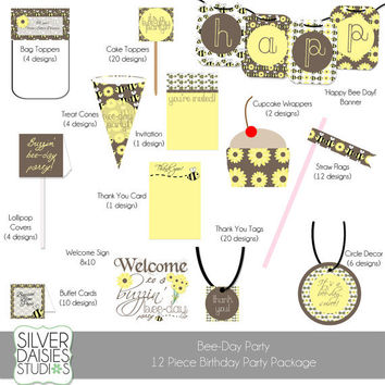 Bumble Bee Birthday Party Package- Printable Party Kit - Digital Kit 12 Pieces- Sunflower and Bumble Bee Bee-Day Party