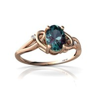 14k Rose Gold Oval Created Alexandrite Ring Size 6