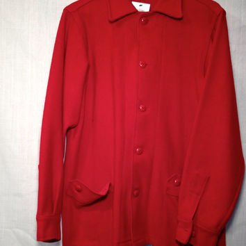 SALE !!! 1940s Bright Red Wool Jacket /// Wool Car Coat /// Mens Size M