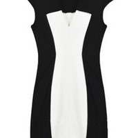 Cap Sleeve Round Neck Color Block Key Hole Neck Bodycon Midi Dress