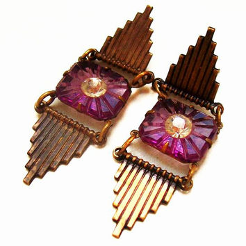 "Art Deco Earrings Purple Art Glass & French Paste Rhinestones Brass Gold Metal 2"" Vintage 1930s"
