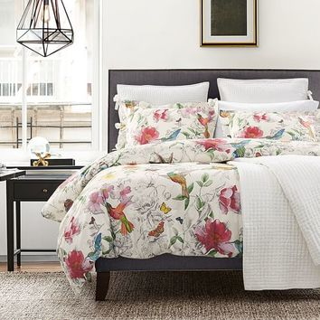 HUMMINGBIRD REVERSIBLE DUVET COVER & SHAMS