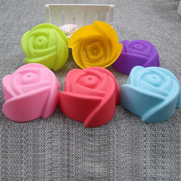 DCTOP Beautiful Rose Shaped 6pcs Molding Combination Silicone Muffin Cases Macaron Cupcake Liner Baking Mold Bakeware Maker Mold