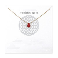Gold Dipped Healing Gem Carnelian Pendant Necklace