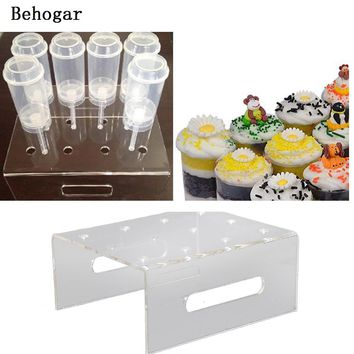 Behogar 12-Hole Acrylic Cupcake Cake Muffin Dessert Push Pop Display Stand Holder for Wedding Birthday Party Christmas Decor