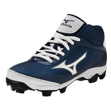 Mizuno 9 Spike Franchise 7 Mid Youth Molded Cleats - Navy White